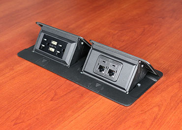 deQuorum Flip-Up Table Box 2-Gang 20A recep 3.1A USB, black finish-side view, DQFP20UBK-2A