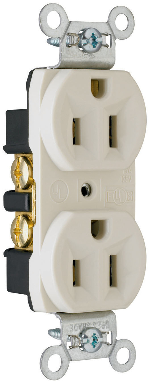 Construction Spec Grade Receptacles, Back & Side Wire, 15A, 125V, Light Almond