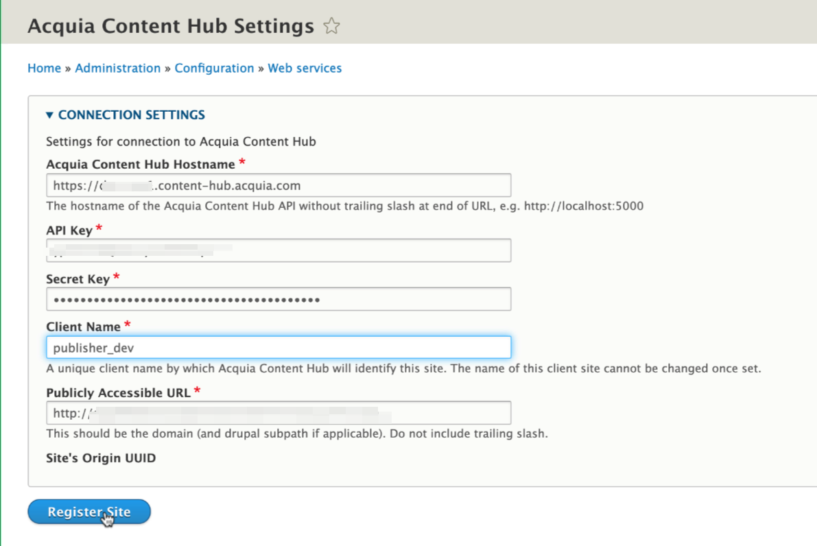 Add the Content Hub publisher settings.