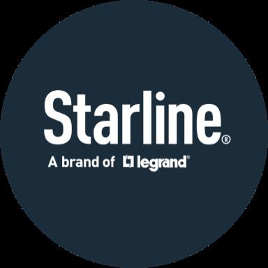 Dark blue circle with white Starline logo