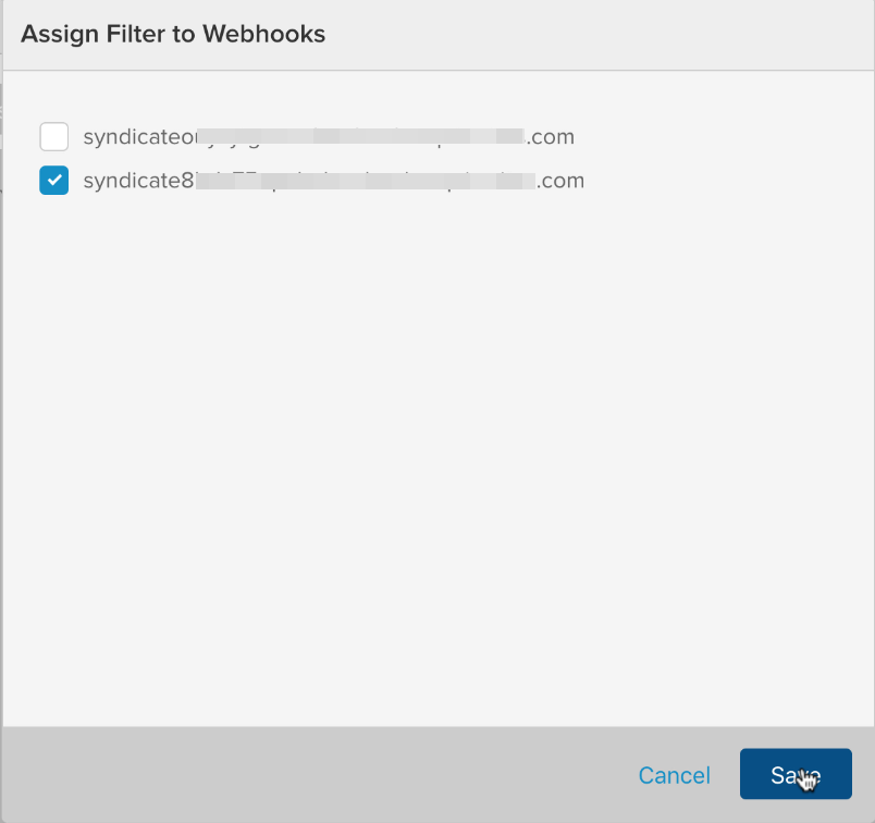 Select a check box for the subscribing website's webhook.