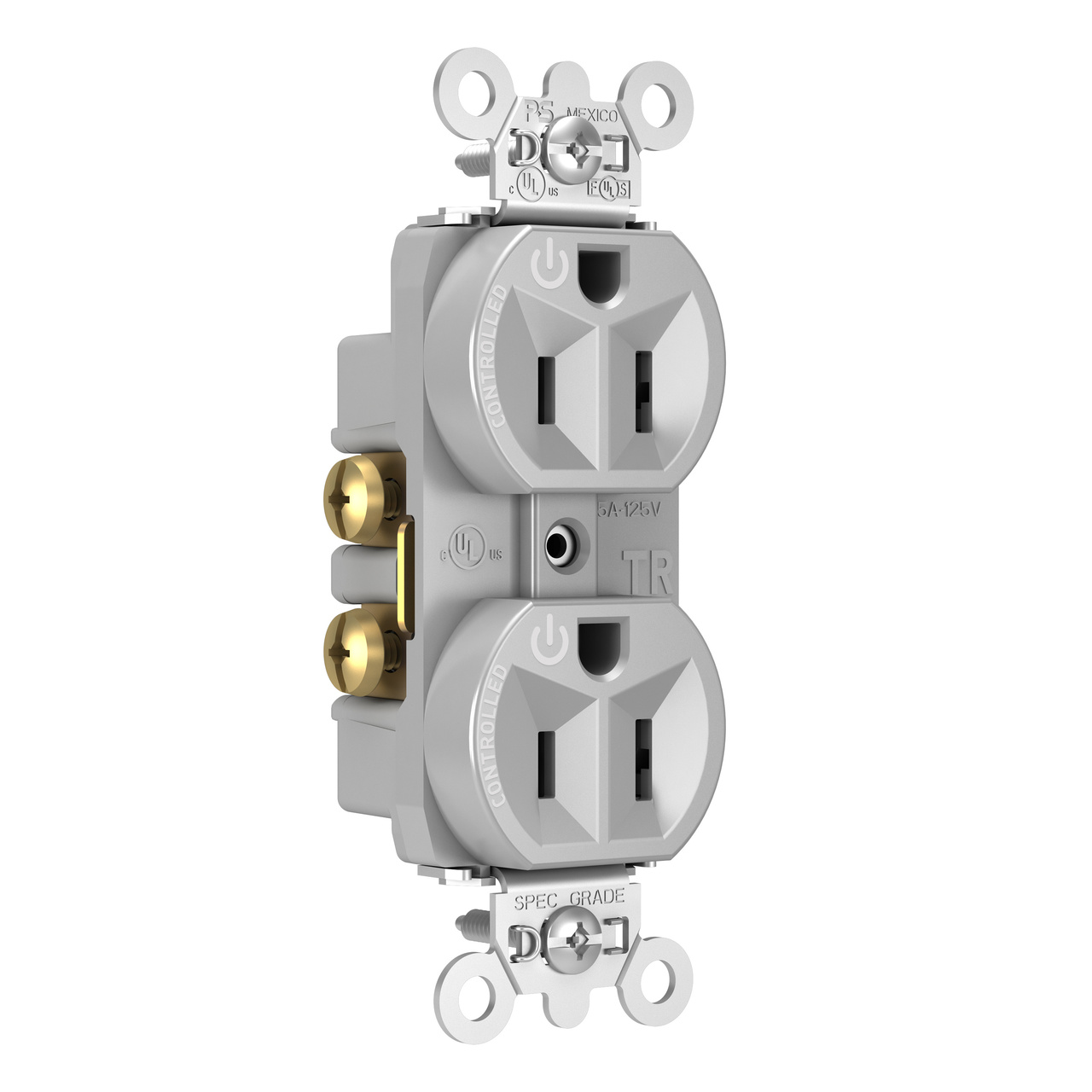 Hard-Use Spec Grade Plug Load Controllable Receptacle, 15A, 125V,Gray
