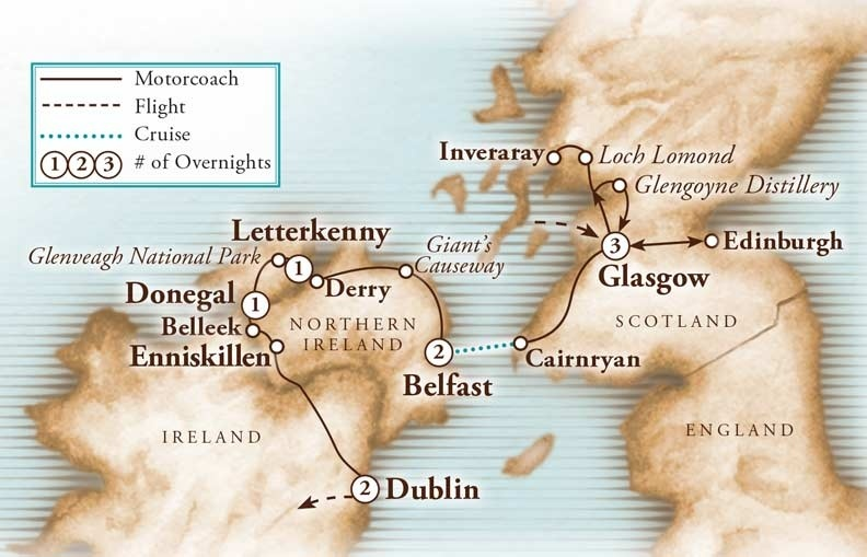 Tour Map for Scotland & Northern Ireland with Agricultural Highlights