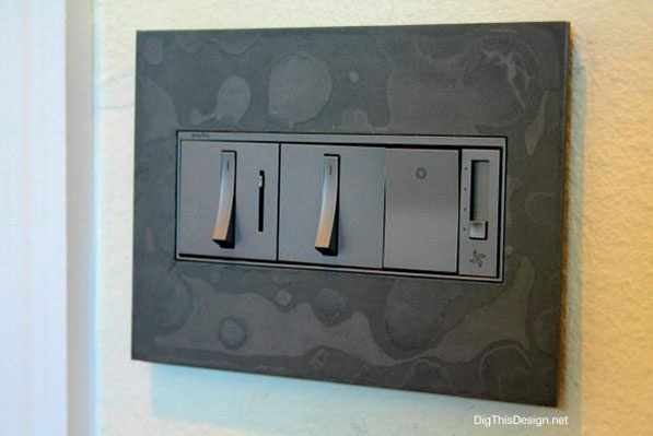 adorne Dark Smoke Wall Plate with switches and dimmers