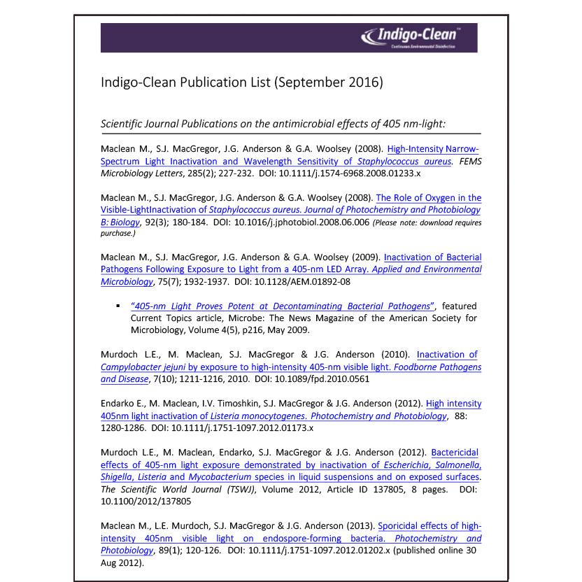 Indigo-Clean Publication List White Paper