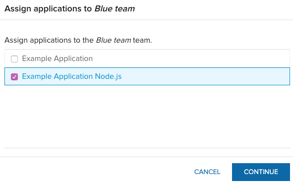 Assign applications to a team