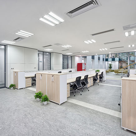 Commercial office space with overhead lighting