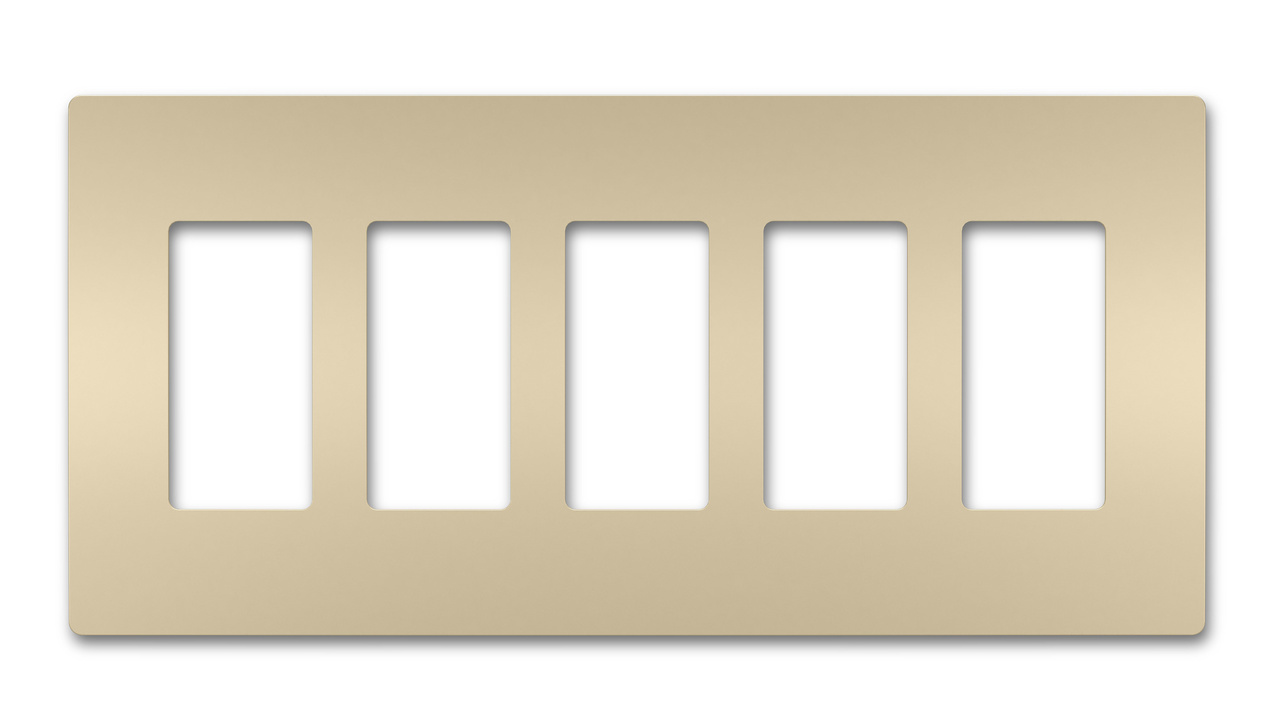 Five-Gang Screwless Wall Plate, Ivory