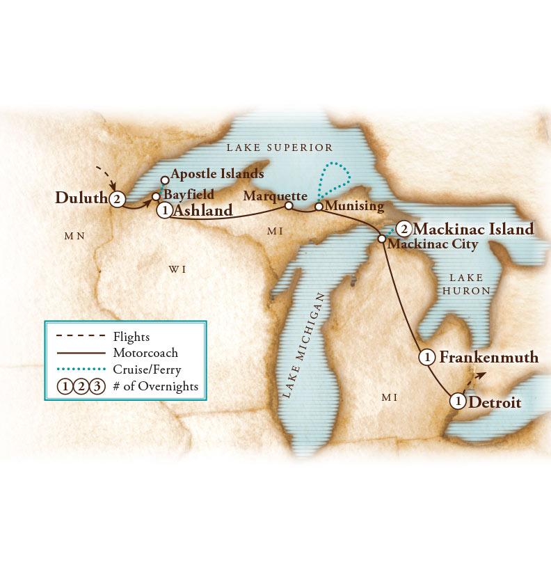 Tour Map for Lake Superior Splendor