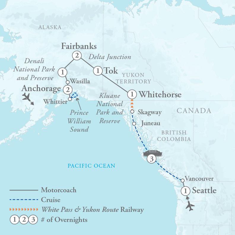 Tour Map for Alaska & Inside Passage Cruise