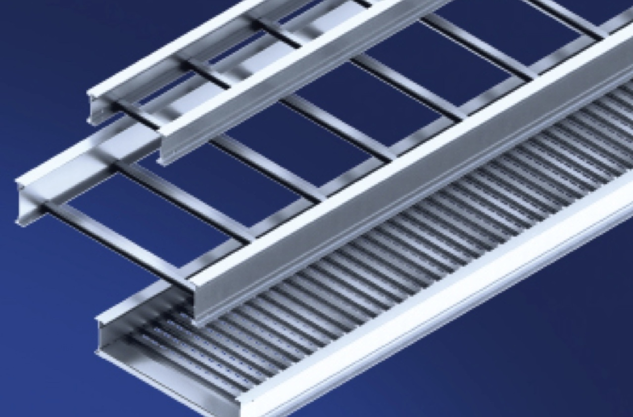 Itray ladder sections stacked over blue background