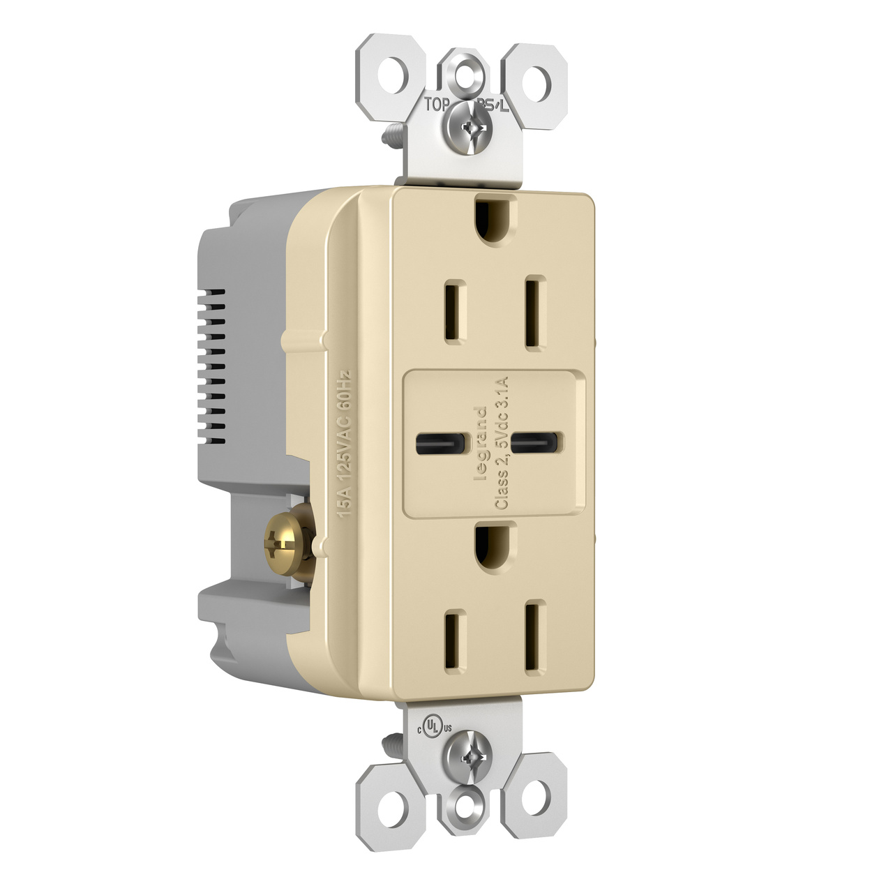 Type C/C USB Chargers with Duplex 15A Tamper-Resistant Outlet, Ivory