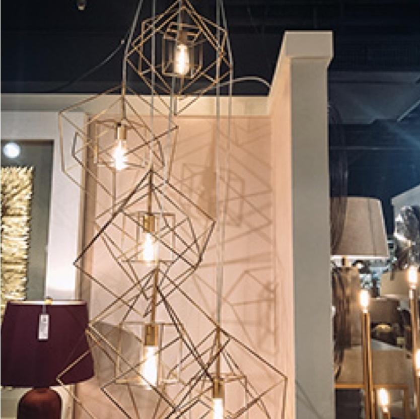 geometric iron lamp art