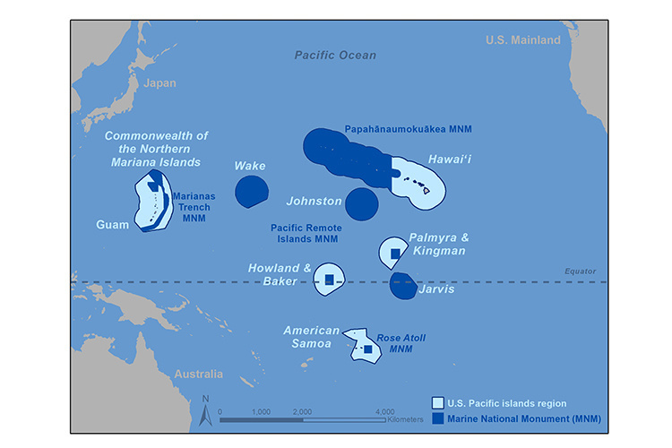 Map of the Pacific Islands region.