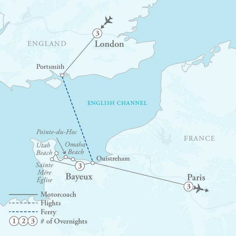 Tour Map for Normandy, London & Paris
