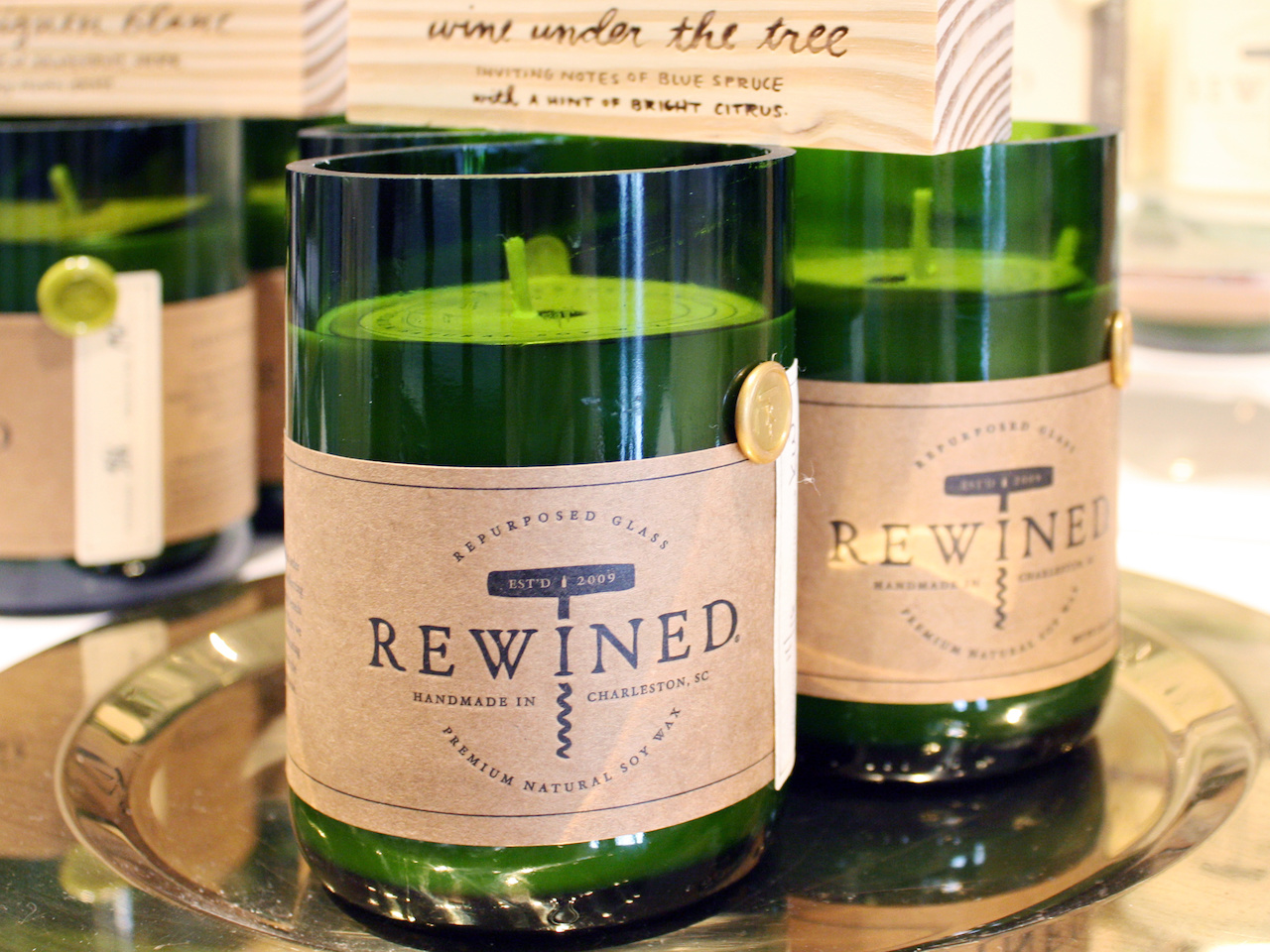 The candles that started it all, Rewined. After working in the restaurant business (with access to a lot of empty wine bottles), Candlefish owner Adam Fetsch saw an opportunity for wine-inspired candles and jumped on it.