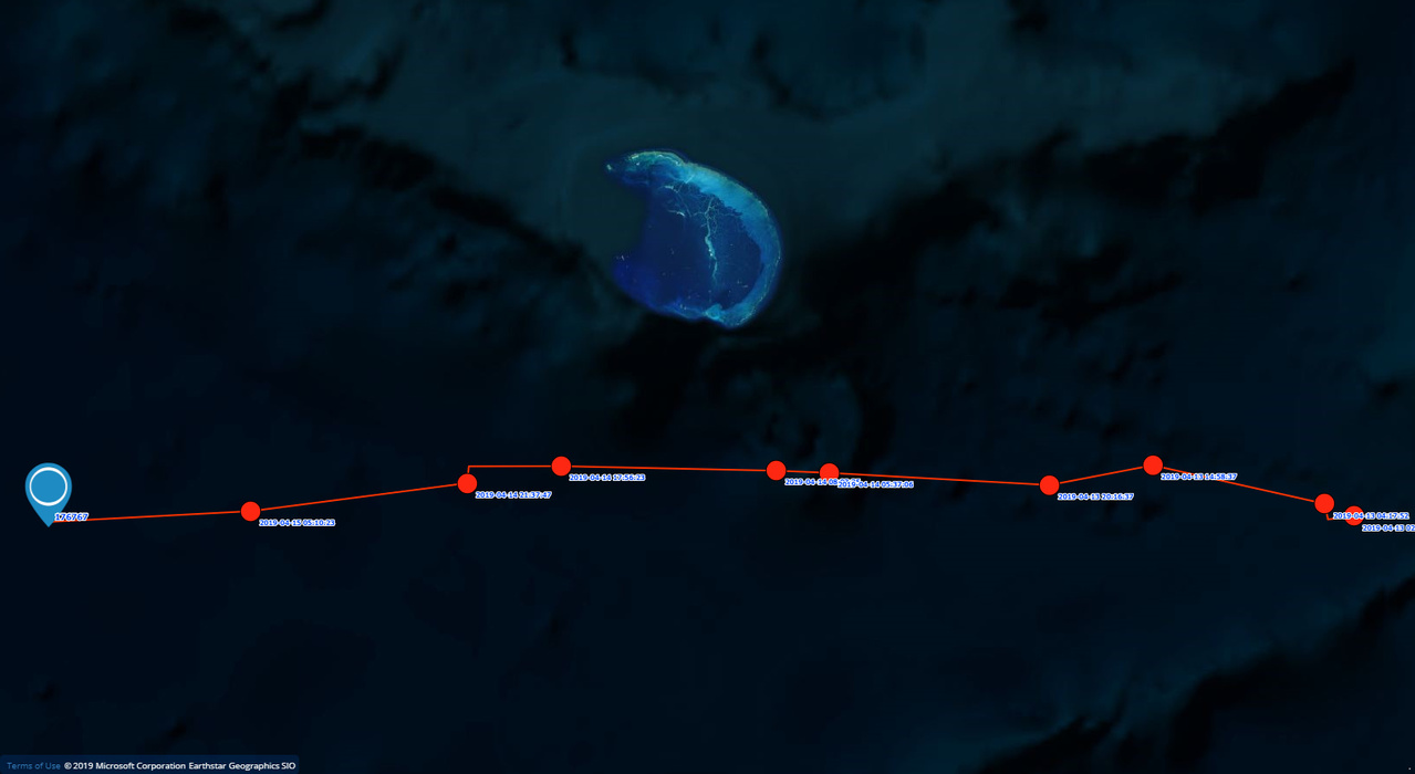 Satellite track of turtle from Oahu