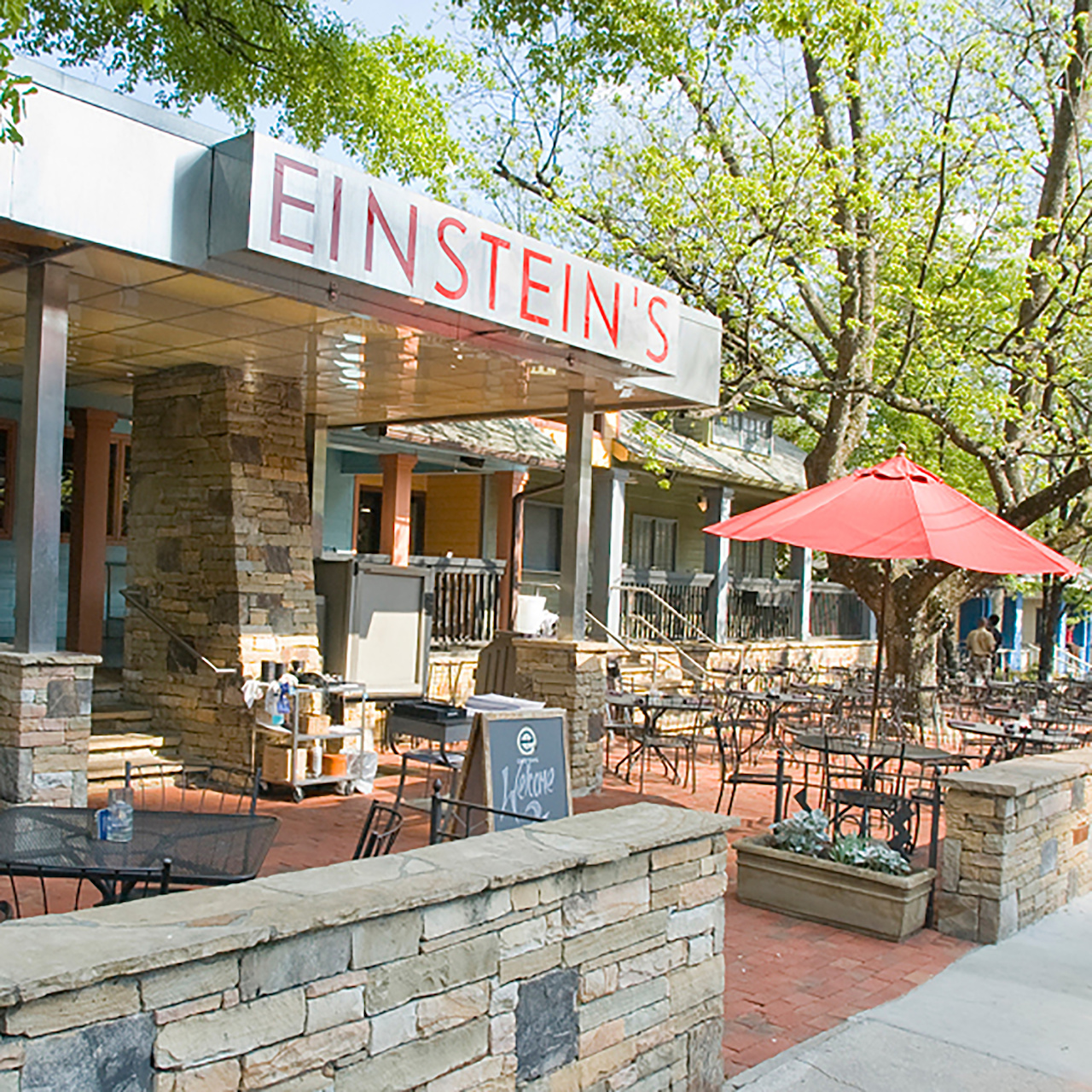 Enjoy the warm weather and a delectable mimosa on the Einstein's patio.