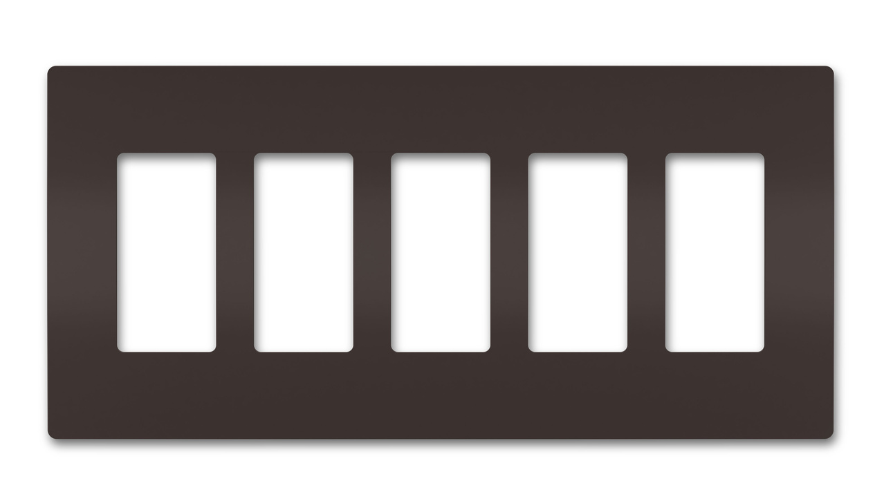 Five-Gang Screwless Wall Plate, Brown