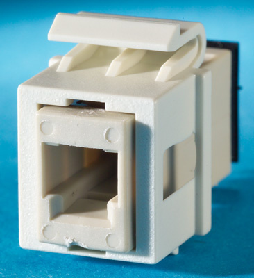 1 MT-RJ (2 fibers) fiber Keystone module, feed-through, multimode, 180 degree exit, flush, fog white, OR-KSMTRJ