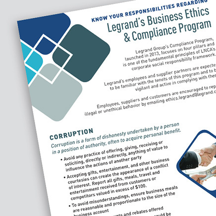 cornered image of the Legrand Business Ethics & Compliance Program document
