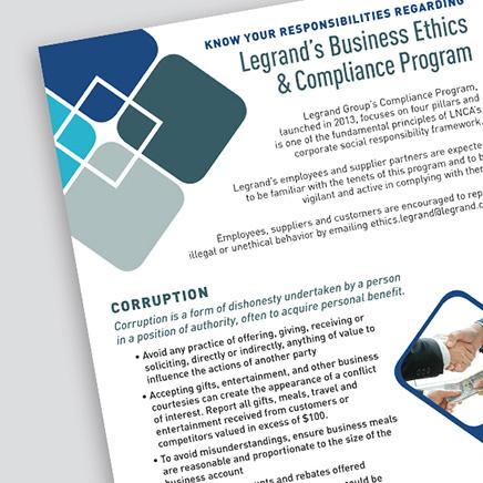 cornered image of the Legrand Business Ethics & Compliance Program document