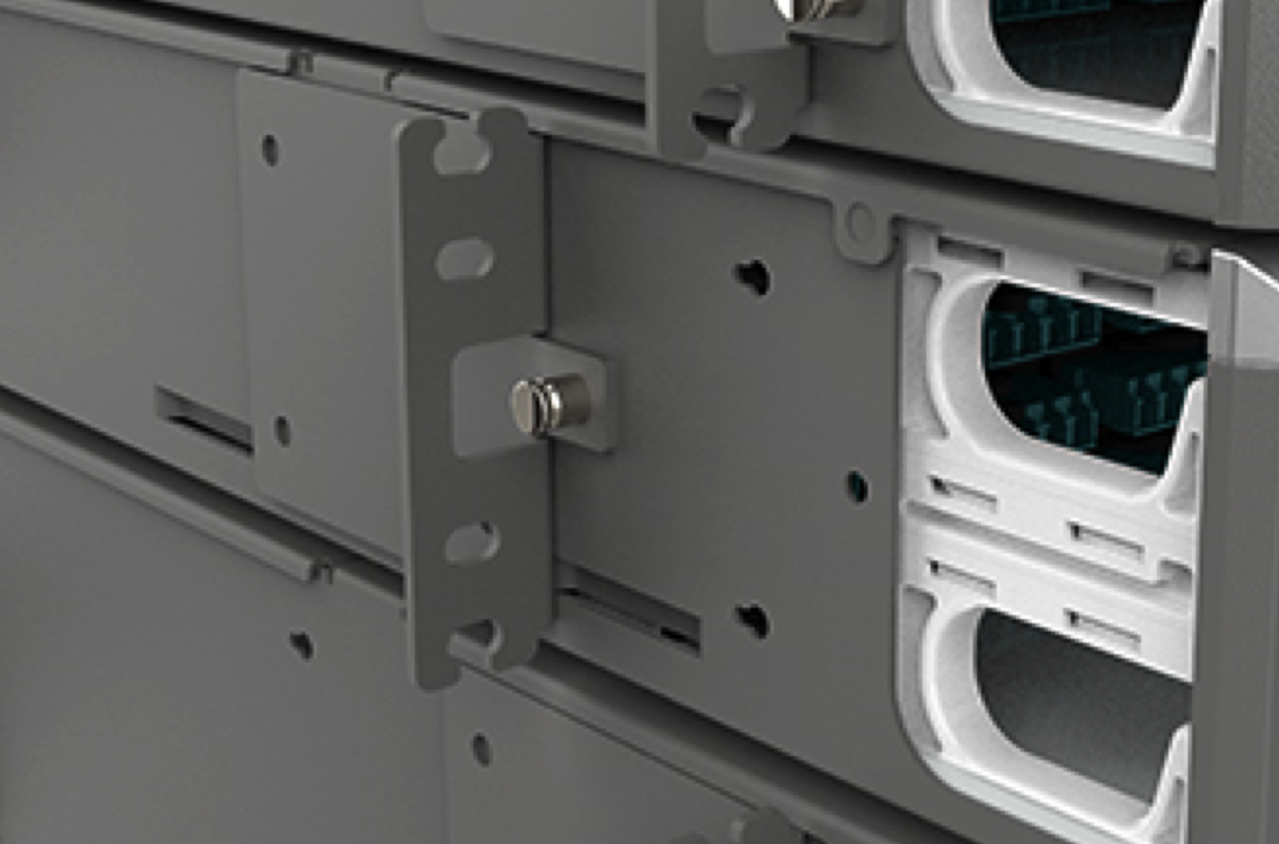 The enclosure features new open-ended mounting ears that allow for a single person to install into a rack