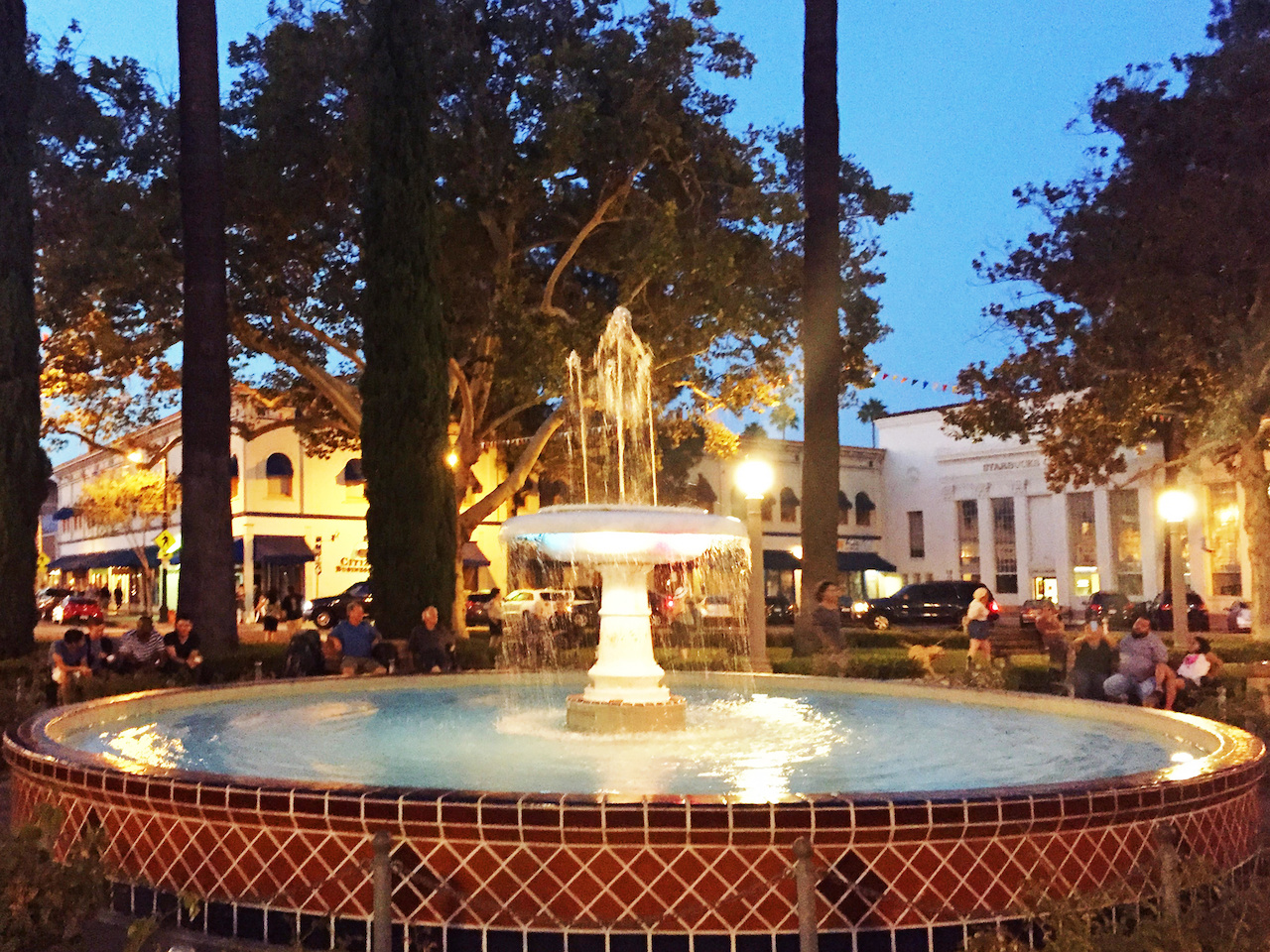 The fountain in Old Towne Orange is a gathering place for college students and residents alike, who can wander from one of the coffee shops or restaurants on the streets just off the plaza.