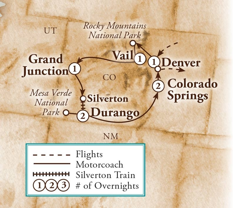 Tour Map for Colorado Highlights
