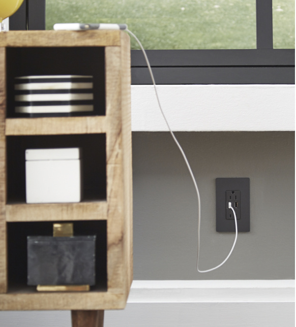radiant USB charger outlet in living room
