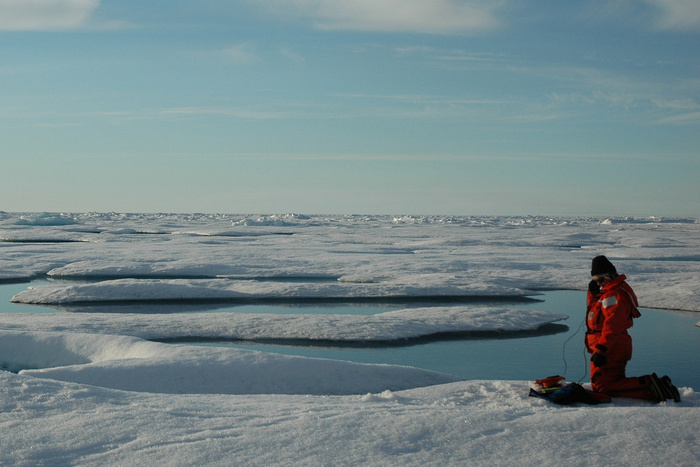 Scientist listening for real-time sounds of marine mammals and other marine fauna in Arctic Ocean, Canada Basin