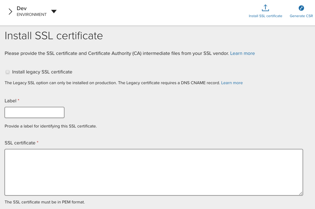Activating an SSL certificate