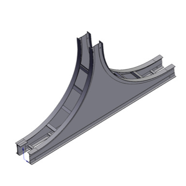 Cable tray 3D rendering of metallic vertical fitting tee up section