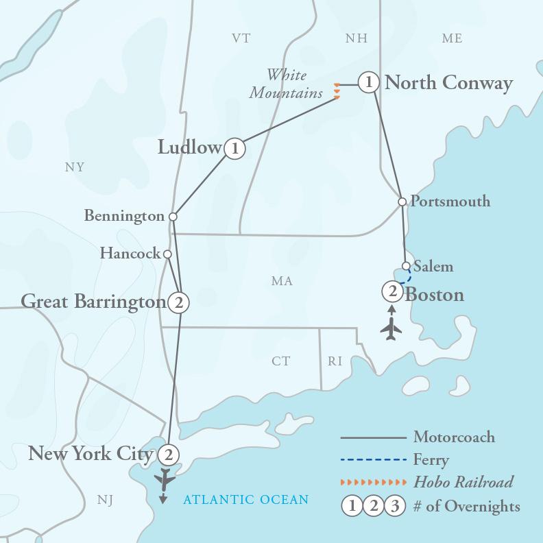 Tour Map for New England Fall Foliage