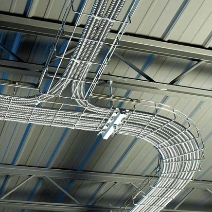 Wire mesh cable tray installed on commercial building ceiling