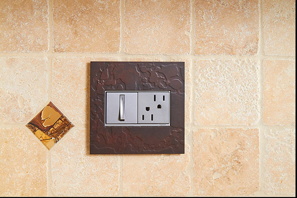 adorne Hubbardton Forge Mahogany Wall Plate with whisper switch and tamper resistant outlet