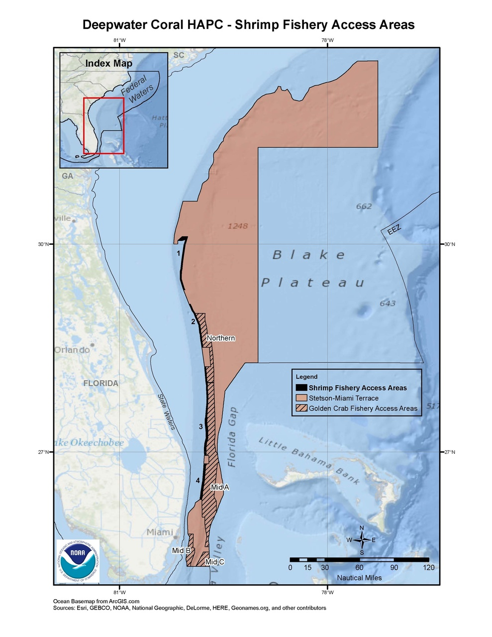 This is a map of shrimp fishery access areas in the deepwater coral HAPC in the South Atlantic Region.