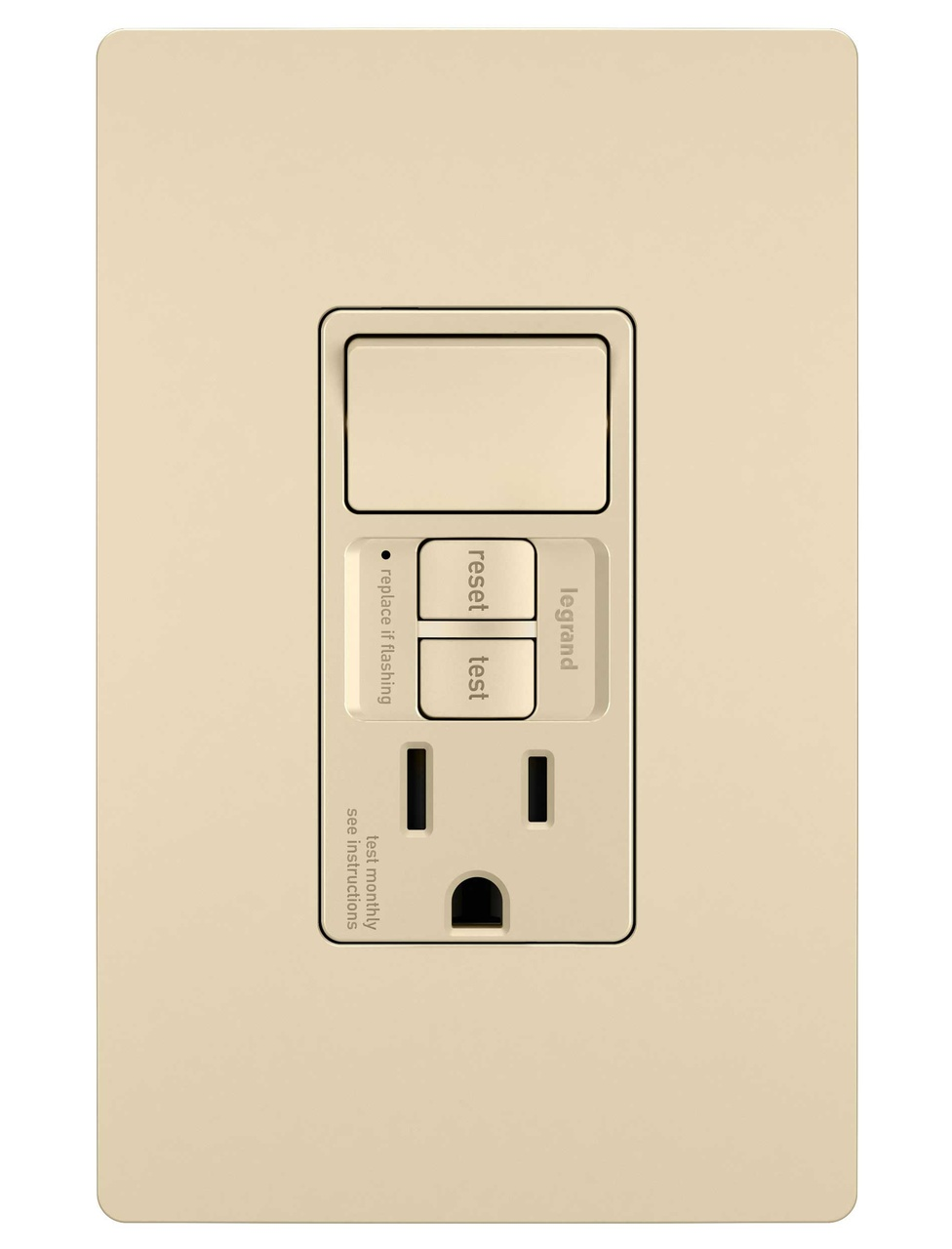 Combination Tamper-Resistant 15A Self-Test Single-Pole Switch/GFCI, Ivory