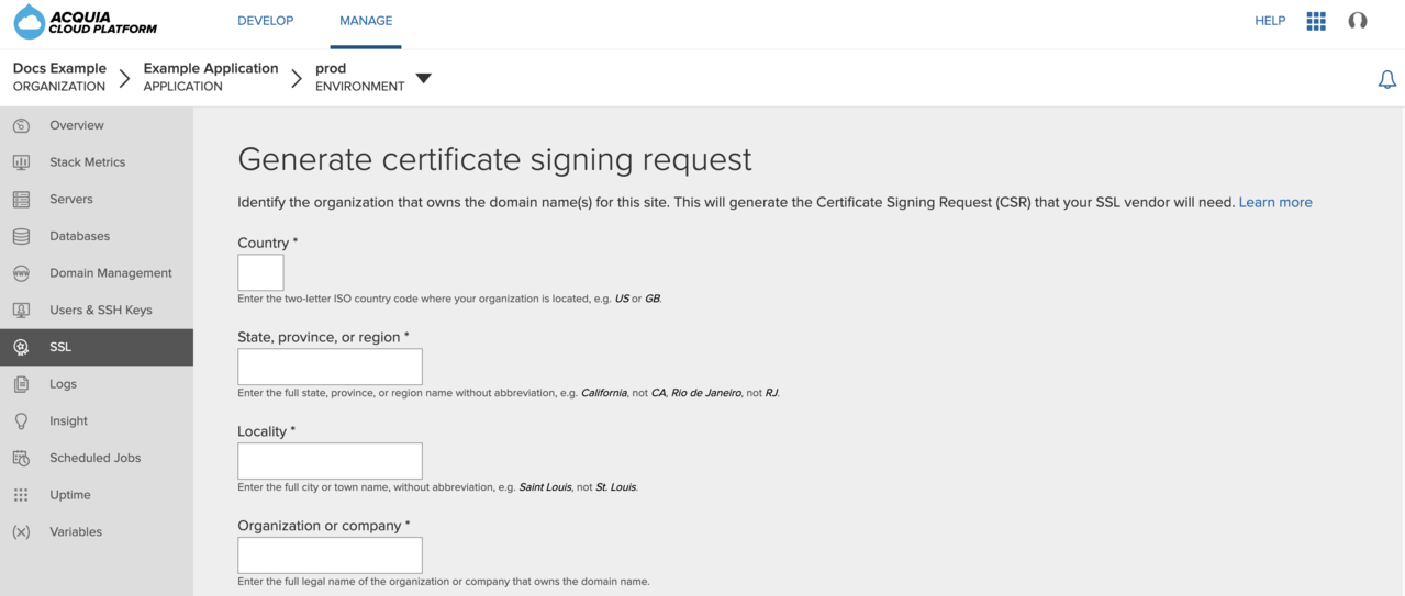 Enter information on the Generate certificate signing request page