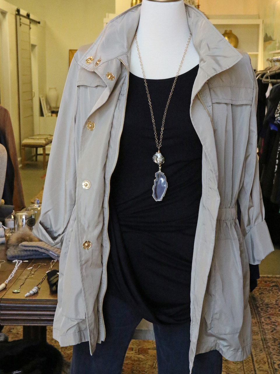 Stay stylish, chic, AND dry in this all-season rain jacket from K. McCarthy in Nashville!