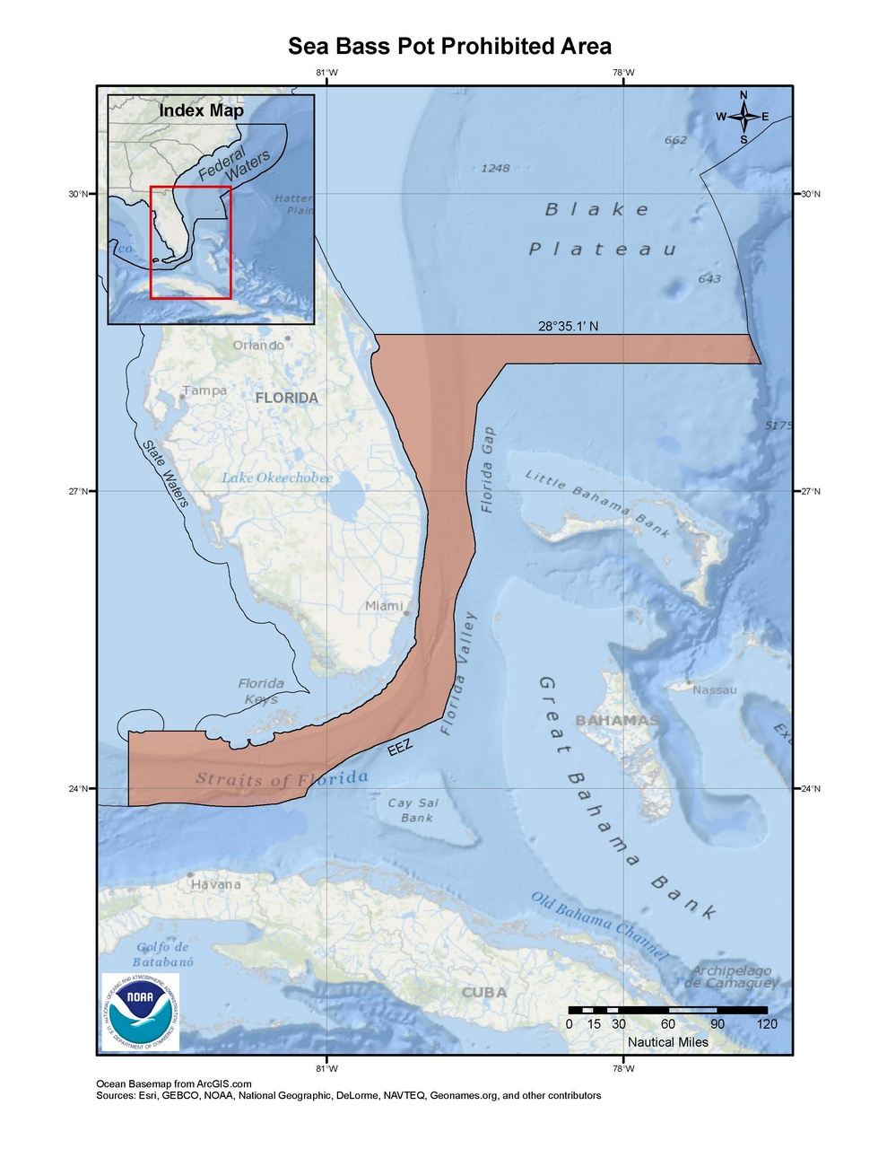 This is a map of the sea bass pot prohibited area for the snapper-grouper fishery in the South Atlantic Region.