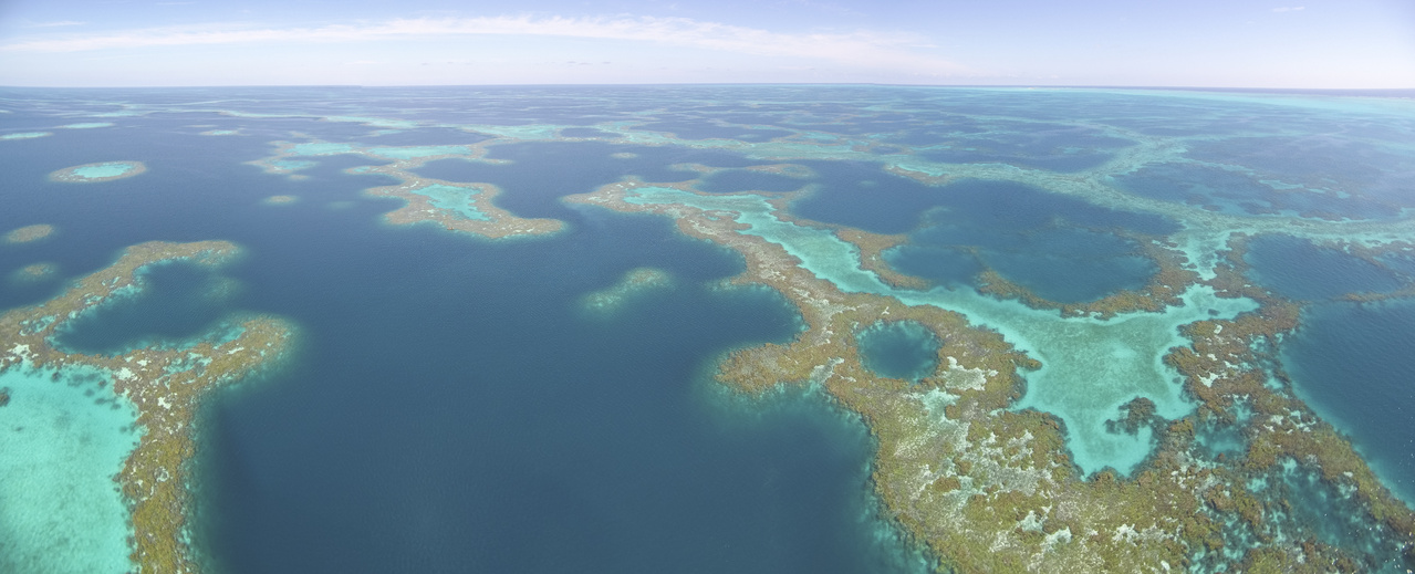 Aerial panoramic view of Pearl and Hermes Atoll
