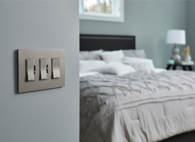 radiant Collection by Legrand nicket light switches and dimmers in bedroom