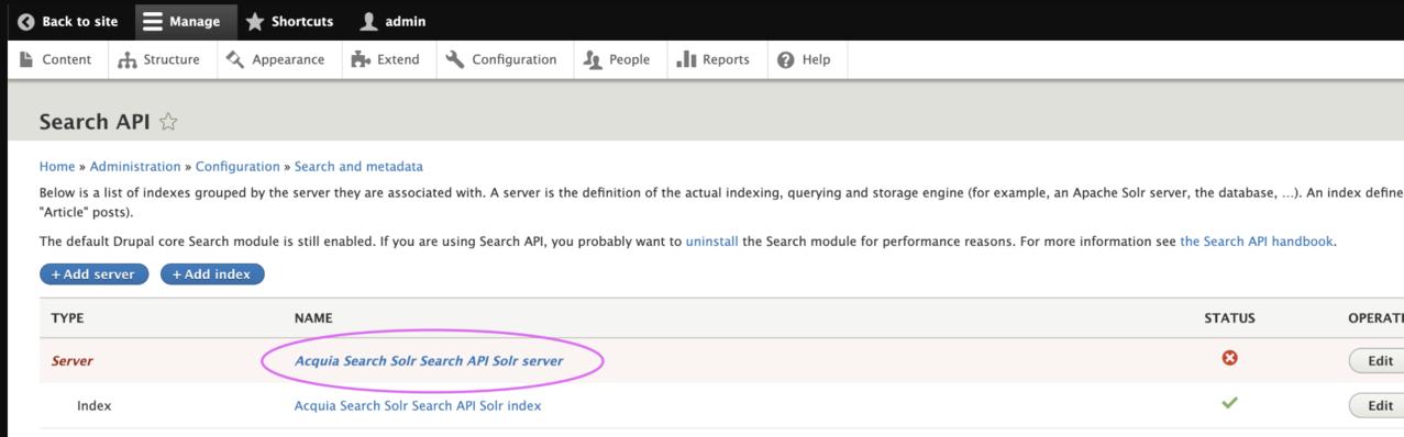 Acquia Search Solr Search API Solr server link