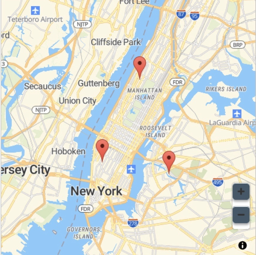 Snippet of a Find a Dealer Google Map showing New York and New Jersey