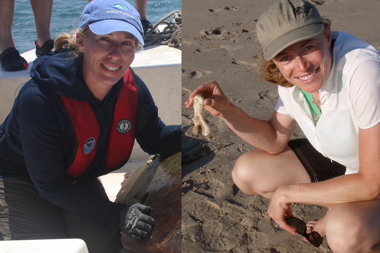NOAA Fisheries scientists Larisa Avens and Cali Turner Tomaszewicz