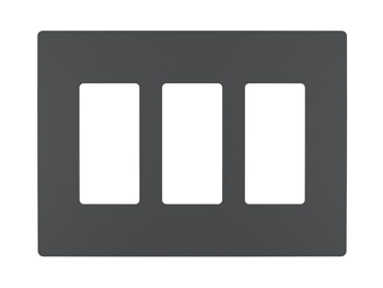 Three-Gang Screwless Wall Plate, Graphite