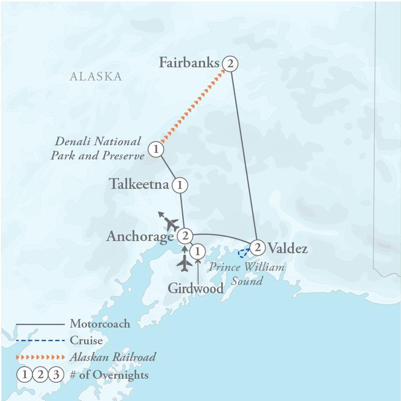 Tour Map for Alaska Explorer