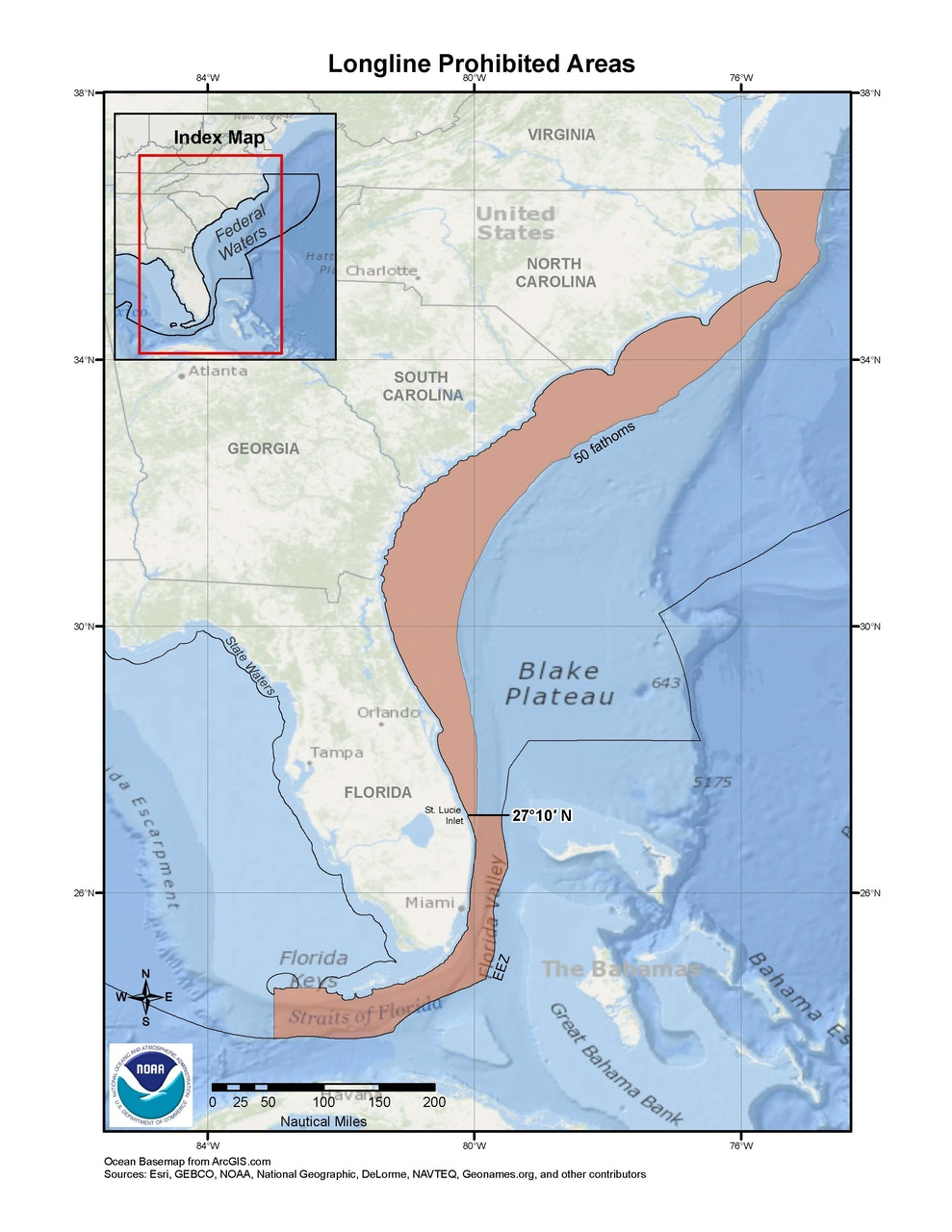 This is a map of the longline prohibited areas for the snapper-grouper fishery in the South Atlantic Region.
