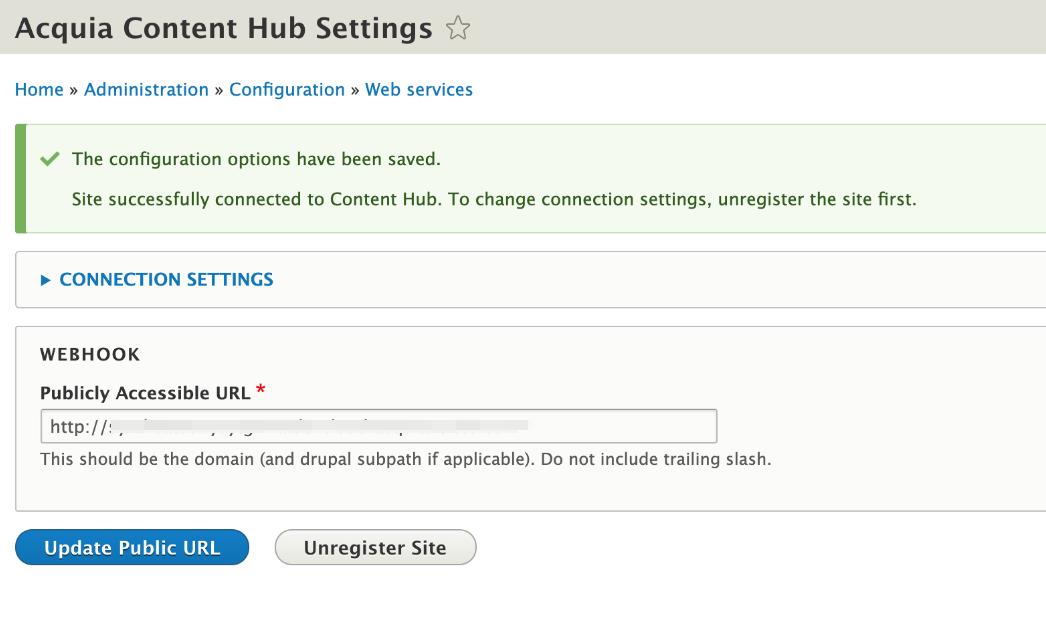 A successful connection to the Content Hub service